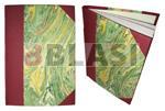 Enquadernació de mitja tela amb paper de guardes.