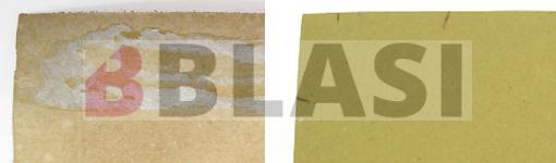Detall de les restes de cola i del cartró acidificat