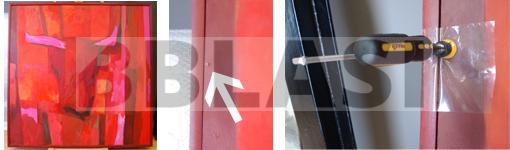 Detalls de la restauració d'una pintura a l'oli sobre cartró