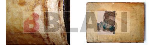 A l'esquerra detall d'una reintegració, a la dreta el llibre després de la restauració