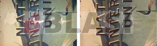 Detall d'una llacuna abans i després de la restauració