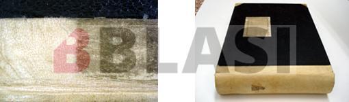 A l'esquerra el llom de pergamí durant la neteja, a la dreta el volum restaurat