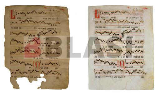 Abans i després de la restauració d'una partitura sobre pergamí