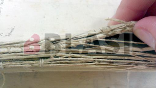 Detall del cosit d'un dels lligalls