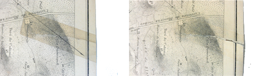 Detall de la carta nàutica durant el procés de restauració