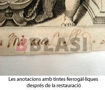 Detall d'una anotació realitzada amb tinta ferrogàl·lica després de la restauració