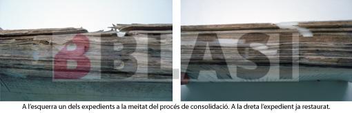 A l'esquerra un expedient durant el procés de consolidació. A la dreta l'expedient ja restaurat.