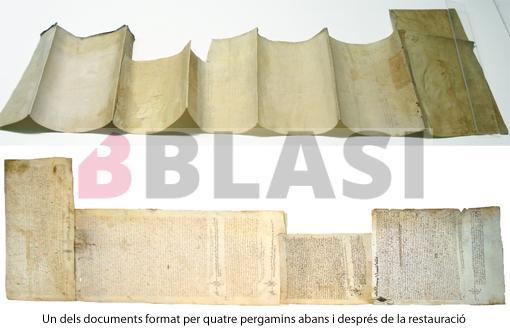 Un dels documents, format per quatre pergamins, abans i després de la restauració