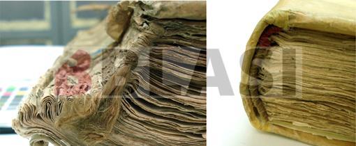 Abans i després de la restauració del llom invertit i la capçada