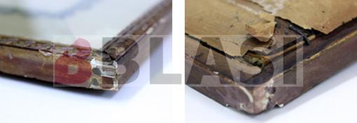 Les cantonades del sistema d'emmarcat abans i després de la seva consolidació i retoc cromàtic