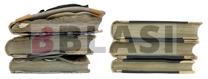 L'abans i el després de la restauració dels llibres de registre afectats en una inundació