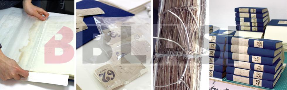 Llibres durant el procés de restauració. D'esquerra a dreta: Laminat puntual, consolidació de les etiquetes originals, reforços dels nervis i els llibres un cop restaurats.