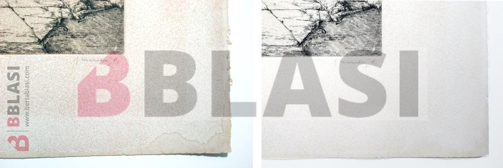 Aquelarre. Detall d'abans i després de la restauració del gravat a la puntaseca de José Hernández