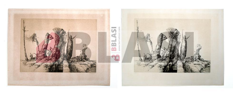 Aquelarre. Abans i després de la restauració del gravat a la puntaseca de José Hernández