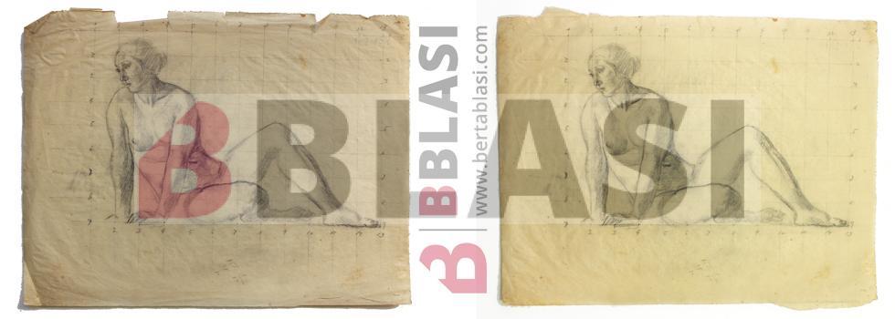 Abans i després de la restauració del dibuix de Josep Obiols