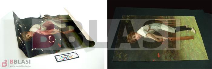 En aquest cas, l'obra es va eganxar al vidre del sistema d'emmarcat. Posteriorment el vidre es va trencar perforant la peça i els propietaris van guardar-la enrotllada. A la imatge podeu veure l'abans i el després de la restauració.