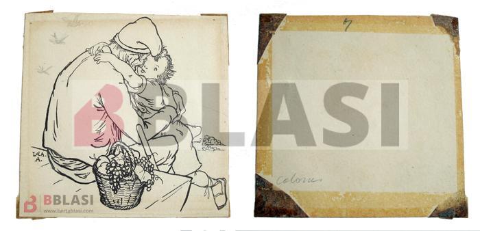 Aquest dibuix tant dolç de Lola Anglada té les típiques cintes adhesives al revers i una reserva alcalina, segurament d'un paspartú, a l'anvers.