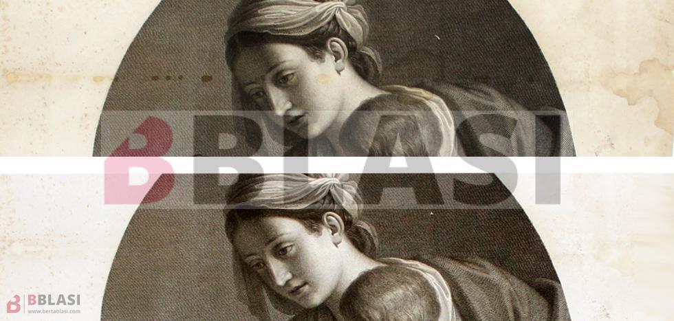 Abans i després de la restauració de la Madonna, on s'aprecia la desaparició de les taques