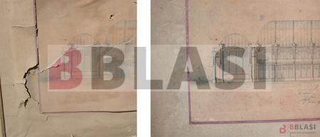 Projecte final de carrera de Puig i Cadafalch, Museu de l'Arquitectura. Detall d'abans i després de la restauració