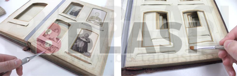 Es varen retirar i restaurar les fotografies que hi havia a l'àlbum i posteriorment es va procedir amb la restauració de l'àlbum en si, amb una neteja i consolidació de l'estructura.