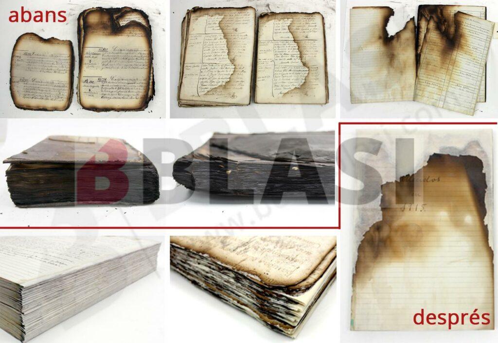 Alguns dels llibres cremats abans de la restauració i alguns exemples després de la restauració