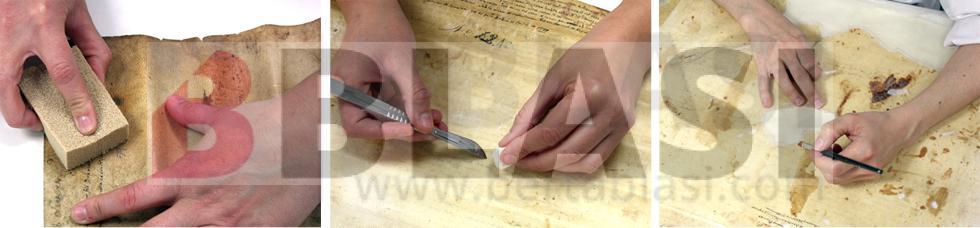 Procés de restauració dels pergamins. Neteja mecànica en sec amb esponja de fum, neteja puntual en humit per a eliminar petits excrements d'insectes, consolidació de llacunes amb paper japonès
