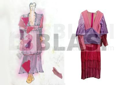 A l'esquerra podeu veure el figurí que Maria Carbonell va dissenyar per l'Esbart Dansaire de Rubí. A la dreta el disseny fet realitat.