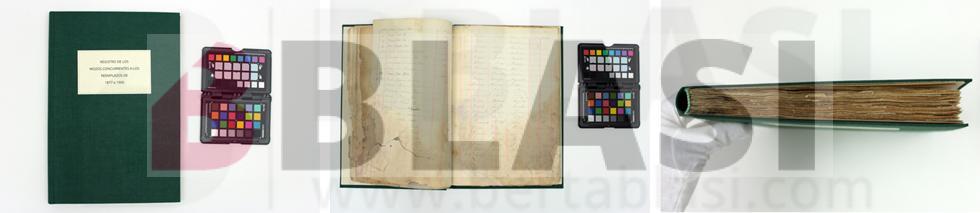 Llibre d'allistament de l'Arxiu Històric de Badalona després del procés de restauració, amb les pàgines consolidades, cosides i amb una enquadernació nova.
