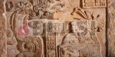Estela 15 de Yaxchilan: la senyora Wak Tuun té la visió d'una serp que emergeix d'una olla on es crema paper amate impregnat de sang