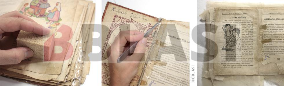 Durant el procés de restauració del llibre s'ha eliminat la brutícia superficial amb una esponja de fum, s'han eliminat els celos i s'han consolidat els estrips i reintegrat les pèrdues de suport a les pàgines