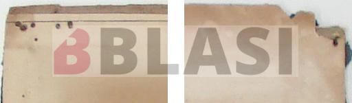 Detall de les perforacions i detall d'una llacuna i el cartró