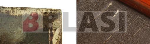 A l'esquerra marges sense pigment, a la dreta alteracions de la capa pictòrica