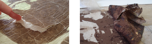 A la dreta detall d'un estrip malgrat la laminació, a l'esquerra procés d'eliminació d'una reparació múltiple