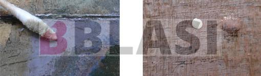 A l'esquerra procés d'eliminació del vernís, a la dreta detall d'un esquitx de pintura blanca