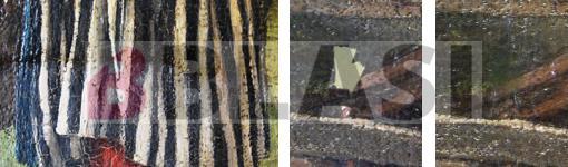 Detall de la neteja del vernís i d'una llacuna abans i després del retoc cromàtic