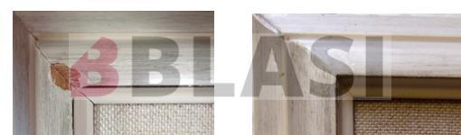 Detall de les cantonades abans i després de la restauració