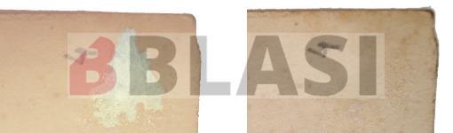 A l'esquerra cantonada amb restes de l'àlbum, a la dreta la cantonada sense restes de paper ni cola