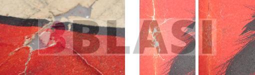 Detall d'una llacuna i l'abans i el després d'una reintegració cromàtica