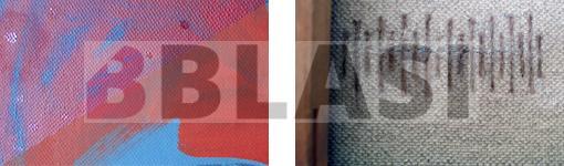 Detall de la neteja, a l'esquerra, i de la consolidació de la tela, a la dreta.