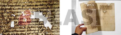 Detall d'una llacuna i imatge del document després de la restauració