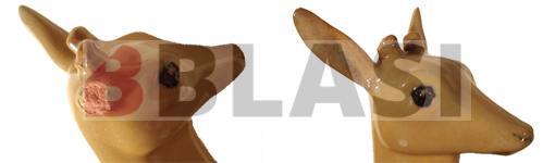 Restauració de dos cervatells dels Germans Serra, detall de la restauració