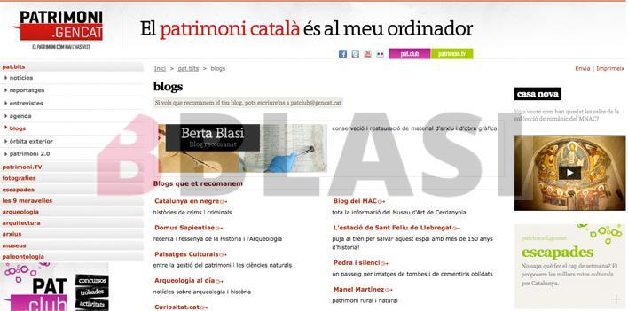 Captura de pantalla de la web de patrimoni.gencat recomanant el blog del taller