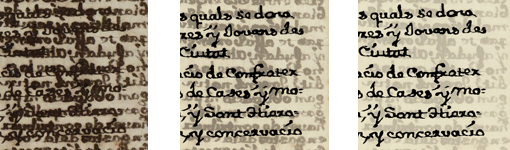 Procés de restauració digital del manuscrit amb els resultats
