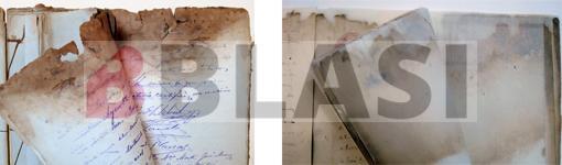 Llibres d'actes abans i després de la restauració