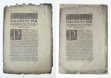 Un dels quadernets abans i després de la restauració