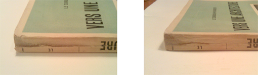 Detall d'un llom abans i després de la restauració