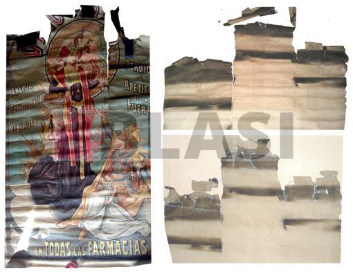 Detalls del cartell abans i durant la restauració