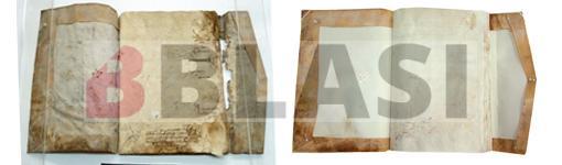 Abans i després de la restauració del Llibre de Delfià de l'AC de l'Alt Empordà