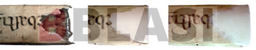 Procés de restauració d'una llacuna de pergamí amb paper japonès
