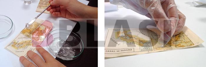 A l'esquerra aplicació del gel físic carregat amb la barreja de dissolvents de baixa toxicitat proposats per Cremonesi. A la dreta aplicació del gel químic carregat amb microemulsió de nanopartícules.